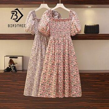 2021 Summer Vintage Plus Size Floral Chiffon Loose Midi Dress With Ruffle Women Puff Sleeve Elegant Square Neck  Dresses D12701X 1