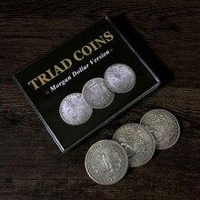 Триадные монеты(Морган трюк) Джошуа Джей монета фокусы крупным планом магический реквизит трюк монеты Исчезающие супер визуальный эффект