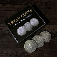 Pièce de monnaie de triade (Morgan gimick) par Joshua Jay, accessoire magique de fermer, Super effet visuel