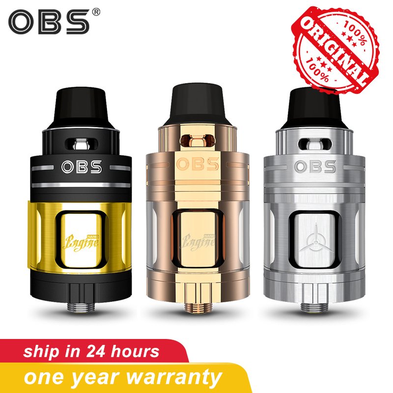 Original OBS Engine Nano With 5.3 ML Capacity RTA Vape Tank Pom Drip Tip Electronic Cigarettes Atomizer