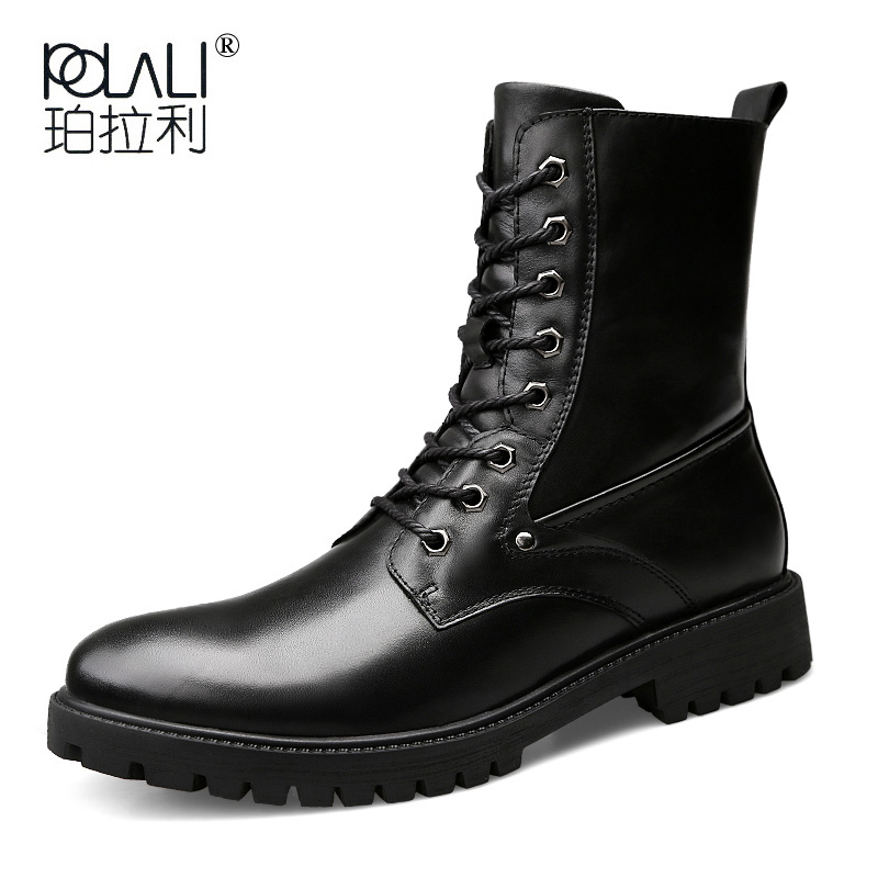 Long-Boots Lace-Up Spring Punk Cowboy Vintage Black Male Autumn Plus-Size Round-Toe Men