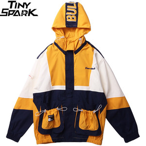 Image 3 - 2019 Streetwear Hip Hop Windbreaker Jacket Retro Color Block Mens Hooded Jacket Coat Pocket Harajuku Zipper Track Jacket Outwear