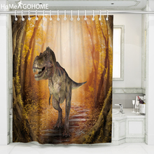 Forest Tree Hole Dinosaur Shower Curtain 3D Psychedelic Home Bathroom Decoration Bath Waterproof Curtains 180x240
