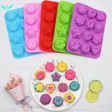 12 полости силиконовые формы для выпечки цветов формочка мыла