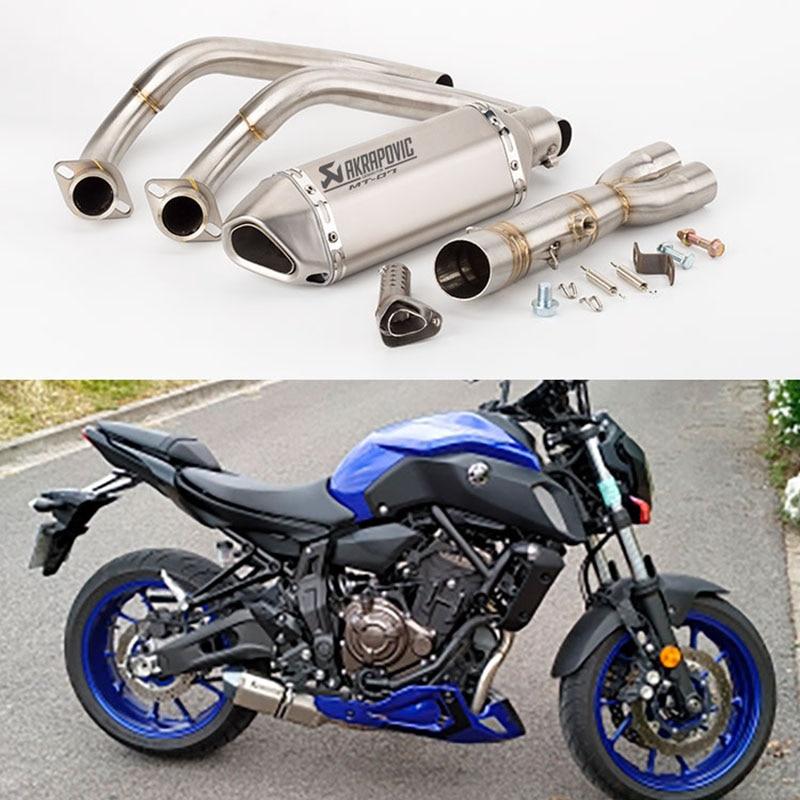MT07 échappement Akrapovic échappement Moto échappement Moto tuyau d'échappement sans lacet système complet pour Yamaha MT-07 FZ07 FZ-07 traceur XSR700