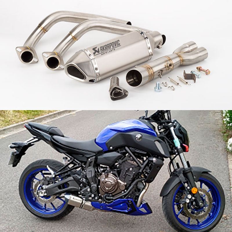 MT07 Exhaust Akrapovic Exhaust Motorcycle Escape Moto Exhaust Pipe Slip on Full System For Yamaha MT 07 FZ07 FZ 07 Tracer XSR700