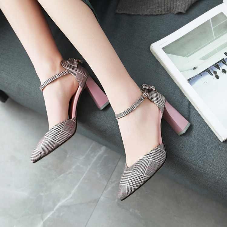 Große Größe high heels sandalen frauen schuhe frau sommer damen Spitz Paket zehen cingulum Dick mit sandalen