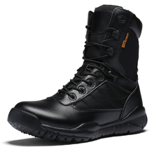 Buy army boots shoes-men leather Waterproof Leather Men Tactical Military Boots Desert Boots Hiking High-top Work shoes mens boots directly from merchant!