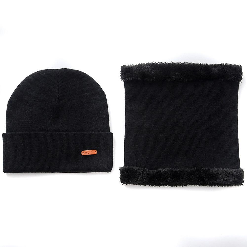 Hat Bib Two-piece Solid Color Wild Wool Hat Bib Unisex Autumn And Winter Warm Suit Plus Velvet Bib Cotton Hat Fashion Warm