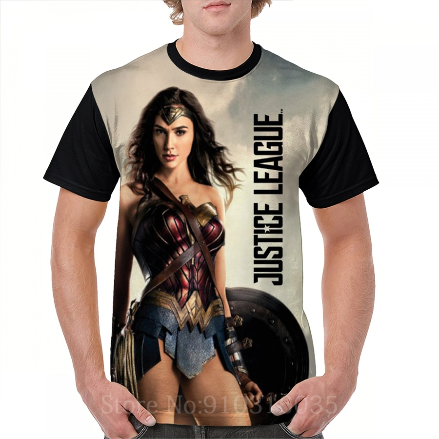 Impression drôle hommes T-Shirt haut pour femme T-Shirt Justice League Wonder femme sur le champ de bataille partout imprimé T-Shirt