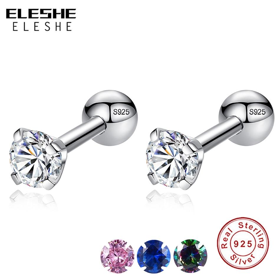 ELESHE CZ AAA Zircon Crystal Round Small Stud Earrings Wedding 925 Sterling Silver Earring For Women Girls Fashion Jewelry Gift