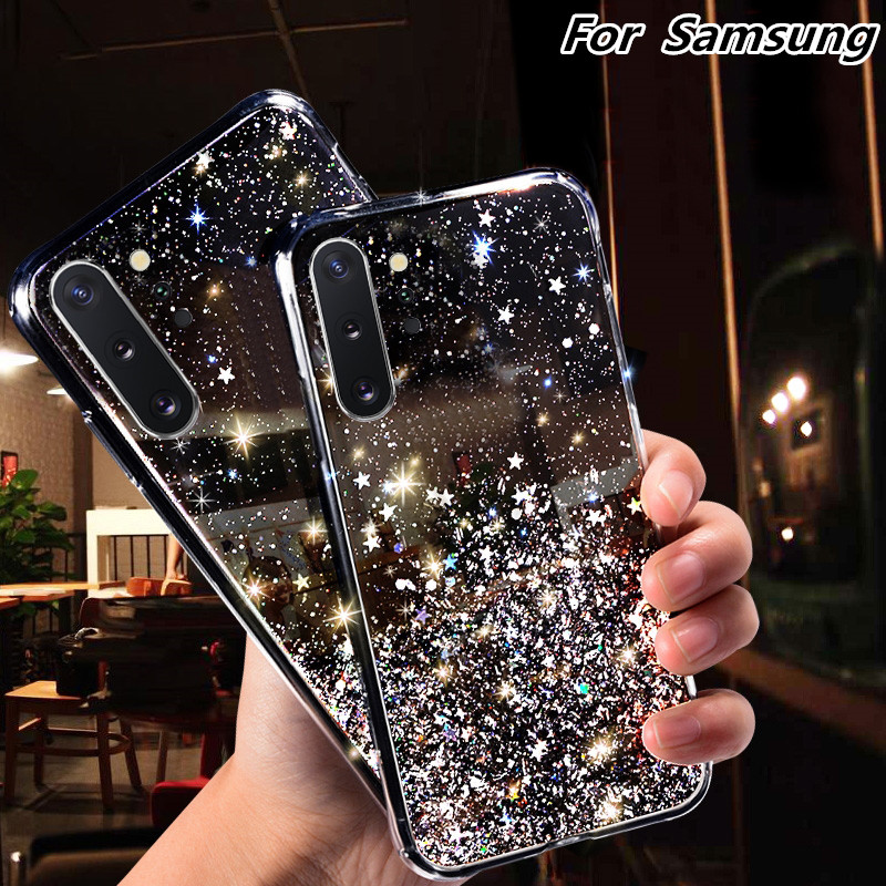 Bling Glitter Silicone Case for Samsung <font><b>Galaxy</b></font> A50 A10 A20 A20S A30 A40 A60 A70 S8 S9 S10 Note <font><b>8</b></font> 9 10 J4 Plus A6 A7 A9 <font><b>2018</b></font> Case image