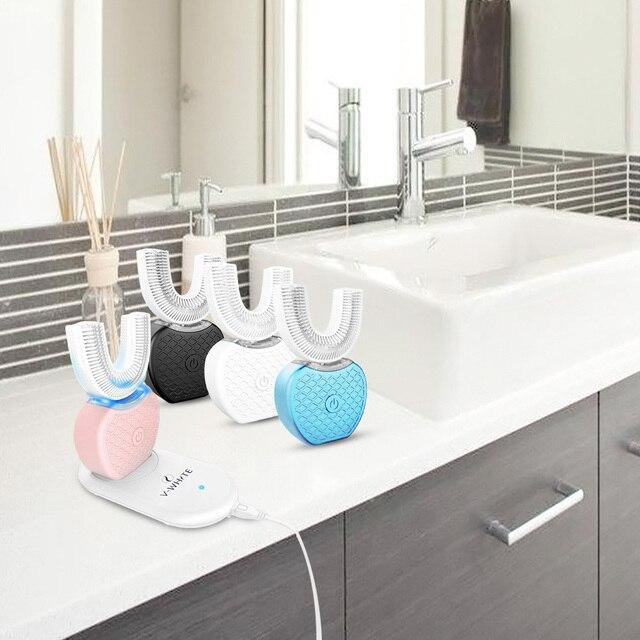 360 derece otomatik elektrikli diş fırçası şarj edilebilir Sonic diş fırçası USB silikon fırça kafaları Oral bakım akıllı U tipi