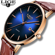 LIGE 2020 Fashion Casual Mens Watches Top Brand Luxury Leather Gold Clock Male Sport Wristwatch Waterproof Quartz Watch For Men