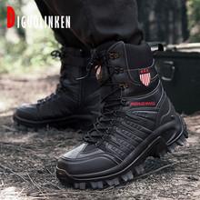 2020 buty wojskowe mężczyźni wojskowe buty bojowe mężczyźni zimowe odkryte buty taktyczne mężczyźni piesze wycieczki Desert kostki polowanie jesień duży rozmiar 47 tanie tanio DIGUOLINKEN Podstawowe CN (pochodzenie) ANKLE Stałe NONE Okrągły nosek RUBBER Zima Mieszkanie (≤1cm) Men Military Boots Q77