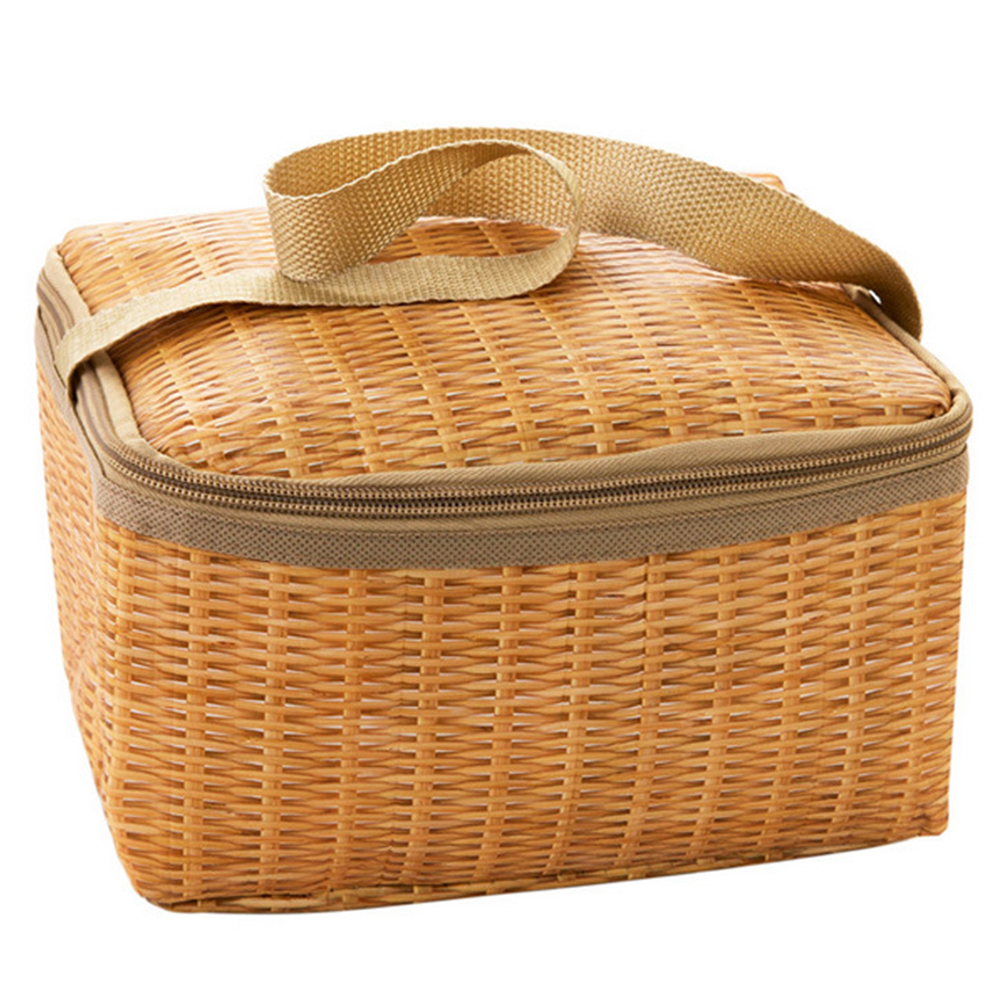 Portable Cooler Lunch Bag Imitited Rattan Print Office School Lunch Fruit Pouch Bag Zipper Tote Bag Picnic Food Container image