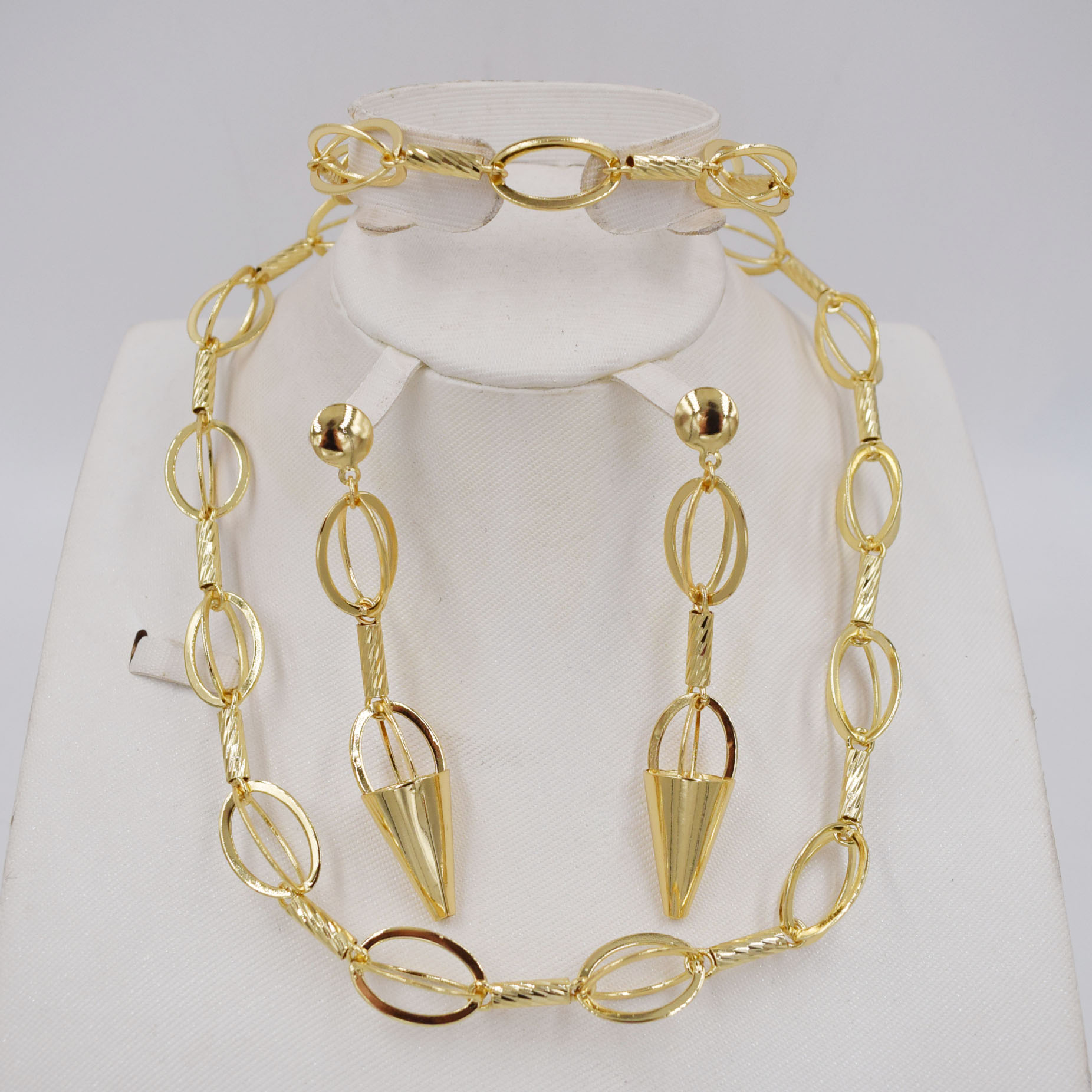High Quality Ltaly 750 Gold color Jewelry Set For Women african beads jewlery fashion necklace set earring jewelry