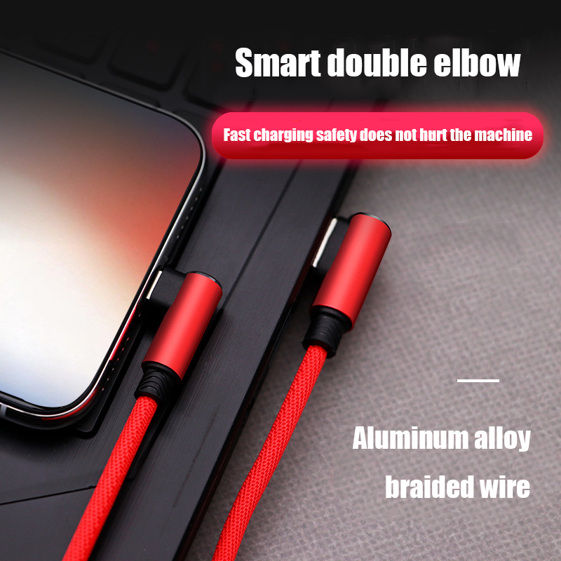 Micro USB Cable 2 4A Fast Charger USB Cord 90 degree elbow Nylona Braided Data Cable for Samsung Xiaomi iphone Android Phone in Mobile Phone Cables from Cellphones Telecommunications