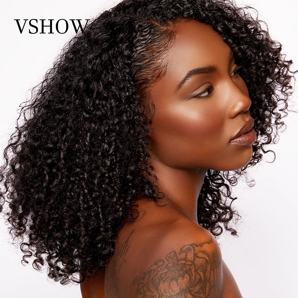 VSHOW 13x4 Mongolian Bob Kinky Curly Wigs Remy Hair 150% 180% Short Bob Lace Front Human Hair Wigs For Black Women Natural Color