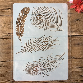 A4 Peacock Feather DIY Craft Layering Stencils Painting Scrapbooking Stamping Embossing Album Paper Card Template merry christmas set sticker painting stencils for diy scrapbooking stamps home decor paper cake card template decoration album