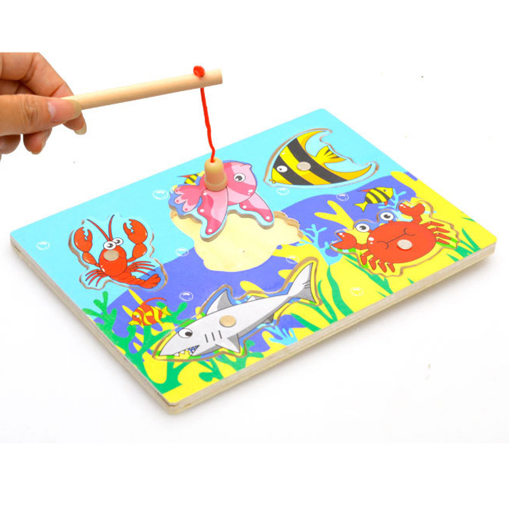 Children Fishing Toy Kids Educational Wooden Magnetic 3D Funny Fishing Game Toys Exercise Baby's Patience Outdoor Toy