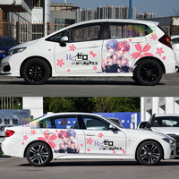 Japan Anime Vinyl Car Sticker Re:Zero Ram Rem Cartoon Door Decals Ralliart Rally Stickers On Car Vehicle Accessories