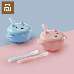Image 1 - Youpin Safety Silicone Baby Feeding Food Tableware Cute Cartoon Bowl Spoon Set Microwavable Kids Dishes Dinnerware For Baby Kids