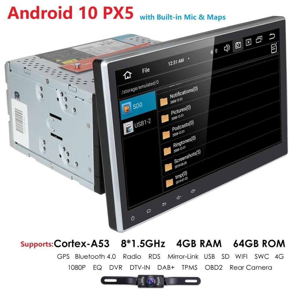 Автомобильный мультимедийный плеер IPS 4 Гб 64 Гб PX5 10,1 дюйма, 2 din, Android, автомобильное стерео радио, Bluetooth, Wi-Fi, аудио, Mirrorlink, MP5-плеер, Авторадио