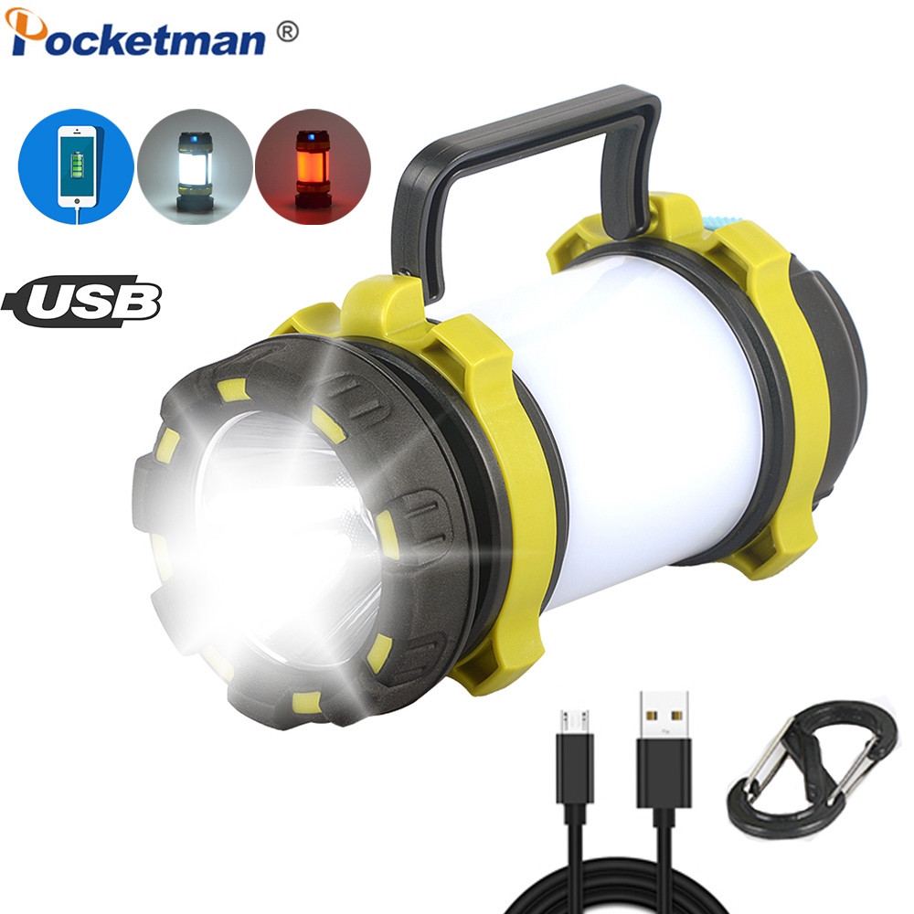 Most Bright LED Flashlight Camping Light USB Rechargeable Work Light Dimmable Spotlight Worklight Waterproof Searchlight Torch