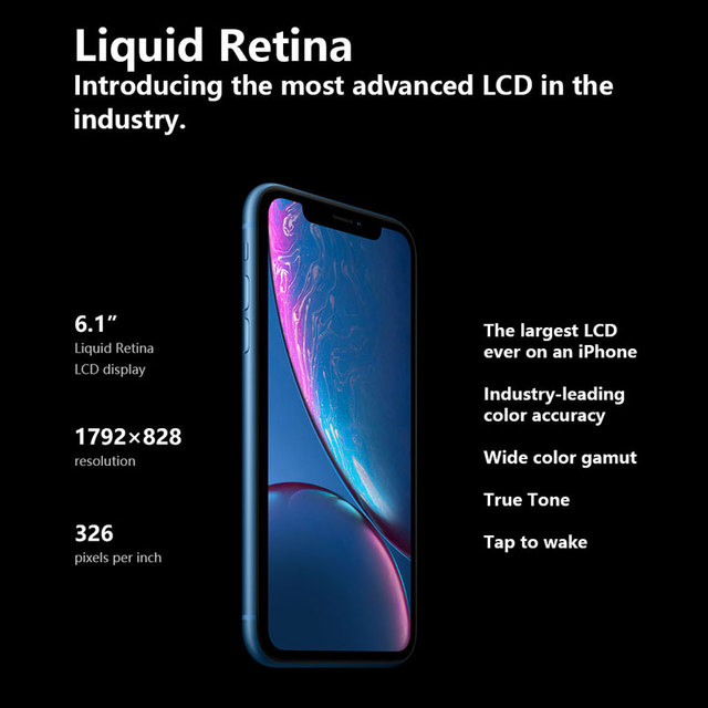 Original Unlocked Apple iPhone XR Mobile Phone 6.1inch LCD Display Hexa Core IOS Fingerprint Face ID NFC Apple Smartphone 3