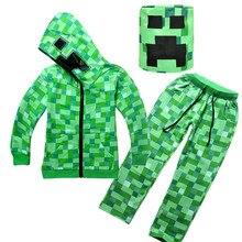 Хлопковые толстовки с капюшоном, осенняя одежда для мальчиков, спортивный костюм, комплект От 4 до 14 лет для мальчиков и девочек, Детский костюм, одежда для костюмированной вечеринки, зеленая верхняя одежда на молнии+ головной убор
