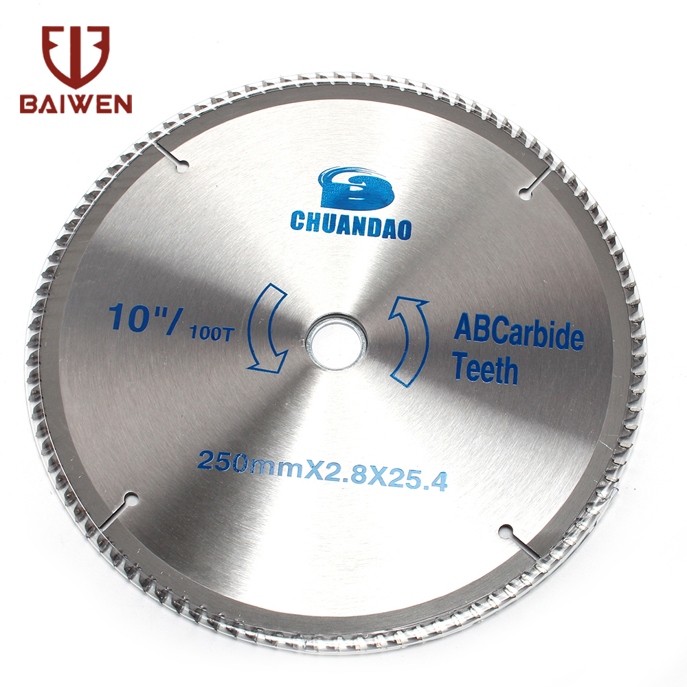 """10"""" Carbide Metal Circular Saw Disk For Woodworking Cutting Wood Aluminum 40T/60T/80T/100T/120T"""