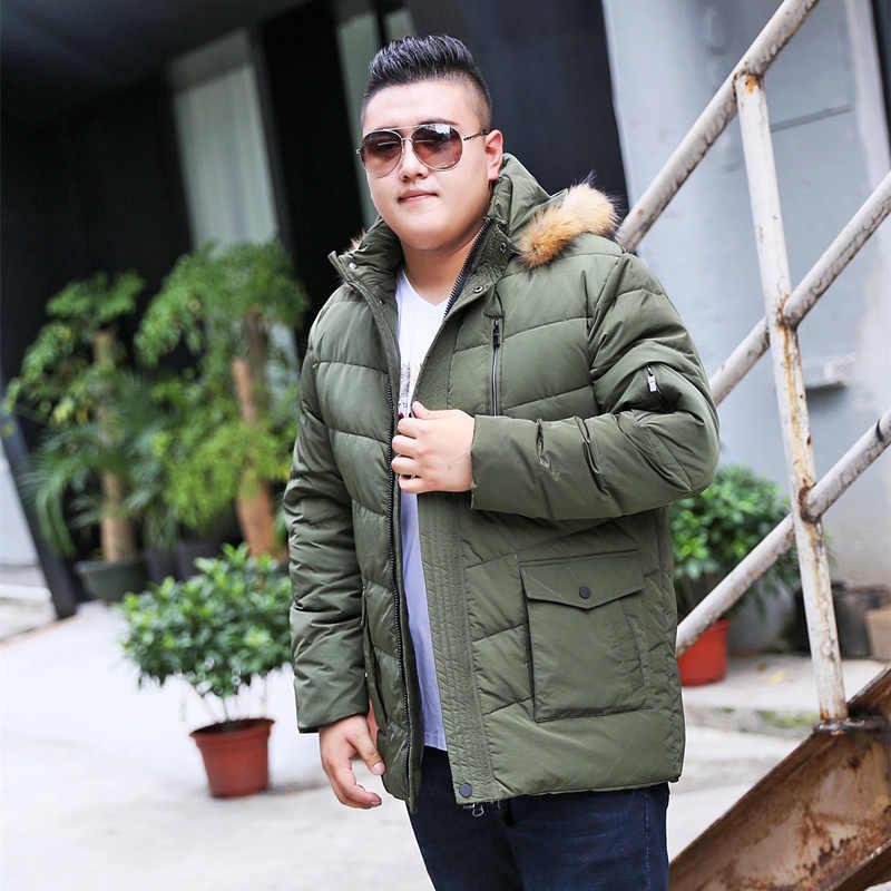 10XL 9XL 8XL 4XL 새로운 남성 다운 재킷 겨울 두꺼운 따뜻한 패션 패치 워크 남성 모피 칼라 후드 남성 화이트 오리 재킷 아래로