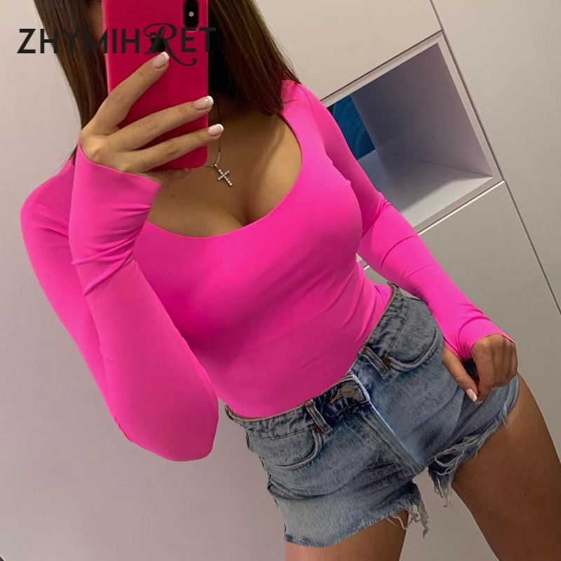 ZHYMIHRET 2019 Autumn Neon Color Bodysuit Women Rompers Long Sleeve O Neck Short Jumpsuit Female Skinny Body Mujer