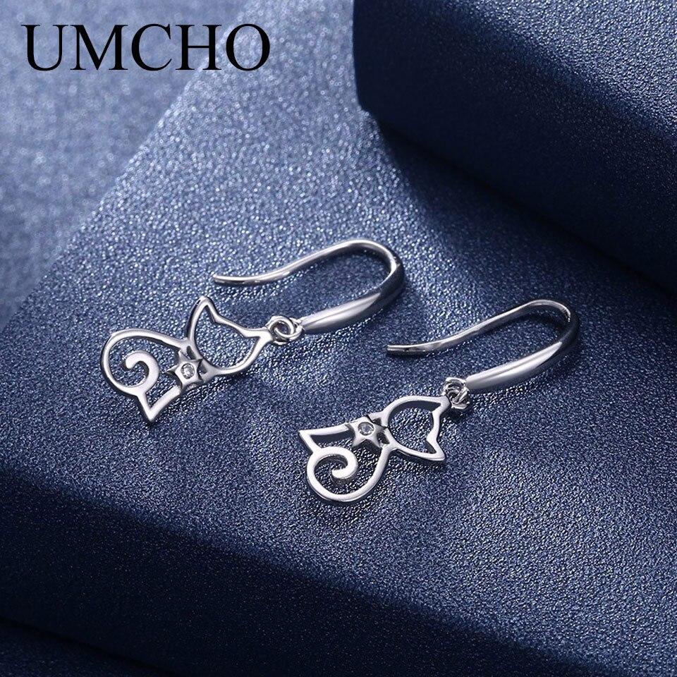 UMCHO Solid Silver 925 Prevent Allergy Cat Zircon Round Drop Earrings Eardrop For Women Girl Cute Fine Jewelry Drop Shipping