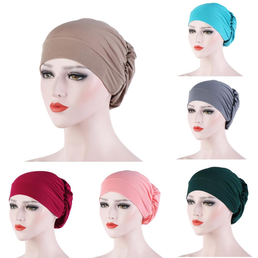 Multicolor Linen Inner Caps For Hijab Solid Cotton Muslim Turban Bonnet Ready To Wear Wrap Head Hijabs Cap Islamic Accessories