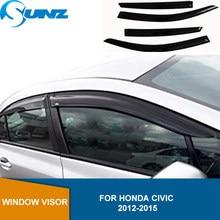 Seite Fenster Deflektoren Für Honda Civic 2012 2013 2014 2015 Acryl Schwarz Wind Schild Regen Sonne Guards Fenster Regen Wachen SUNZ