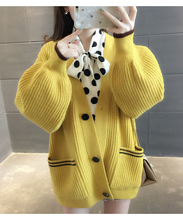Fashion Autumn Winter Solid color Cardigan Women Sweater Coat Female Casual Loose Sweaters Korean pocket Button Sweater yellow