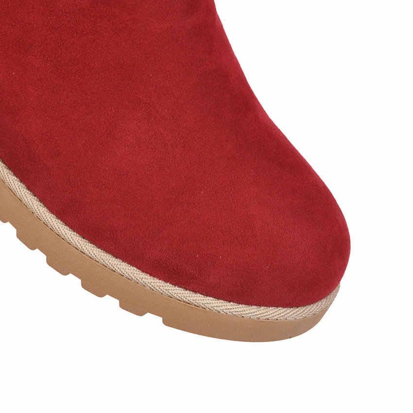 ESVEVA 2020 yuvarlak ayak peluş kar botları kış sıcak kürk üzerinde kayma orta buzağı çizmeler akın rahat kama topuk kadın ayakkabı büyük boy 34-43