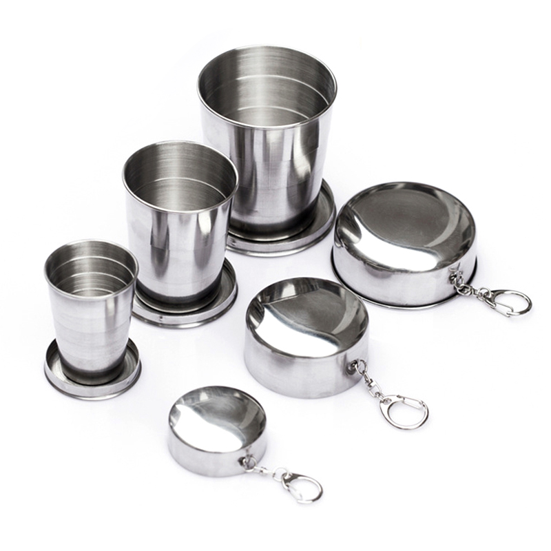 60ml/150ml/250ml Stainless Steel Camping Folding Cup Portable Outdoor Travel Demountable Collapsible Cup With Keychain 8