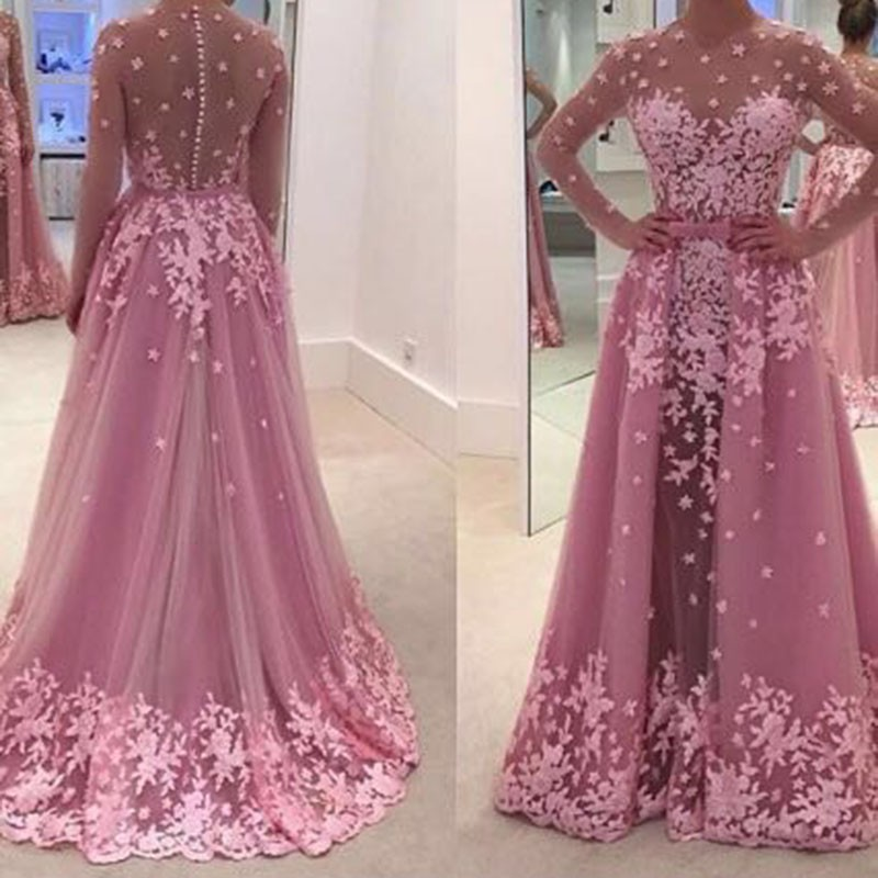 Real 2018 Arabic Pink Long Sleeves Evening Gown With Removable Train O Neck Sexy Illusion Back Mother Of The Bride Dresses