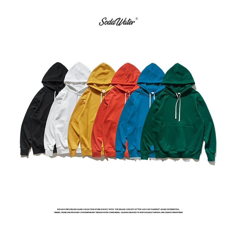 SODAWATER Men Hoodies Streetwear 2019 Autumn Hip Hop Loose Solid Hooded Sweatshirt Men Women Casual Cotton Pullover Hoodie 9602W
