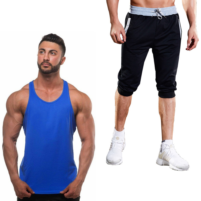 Men's Summer Brand Clothing Men's Vest Cotton Men's Gym Vest Fitness Clothes Hip Hop Sleeveless Top + Shorts Fitness Clothes