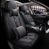 Full Coverage PU Leather car seat cover flax fiber auto seats covers for Ford fiesta focus mondeo ecosport kuga edge explorer