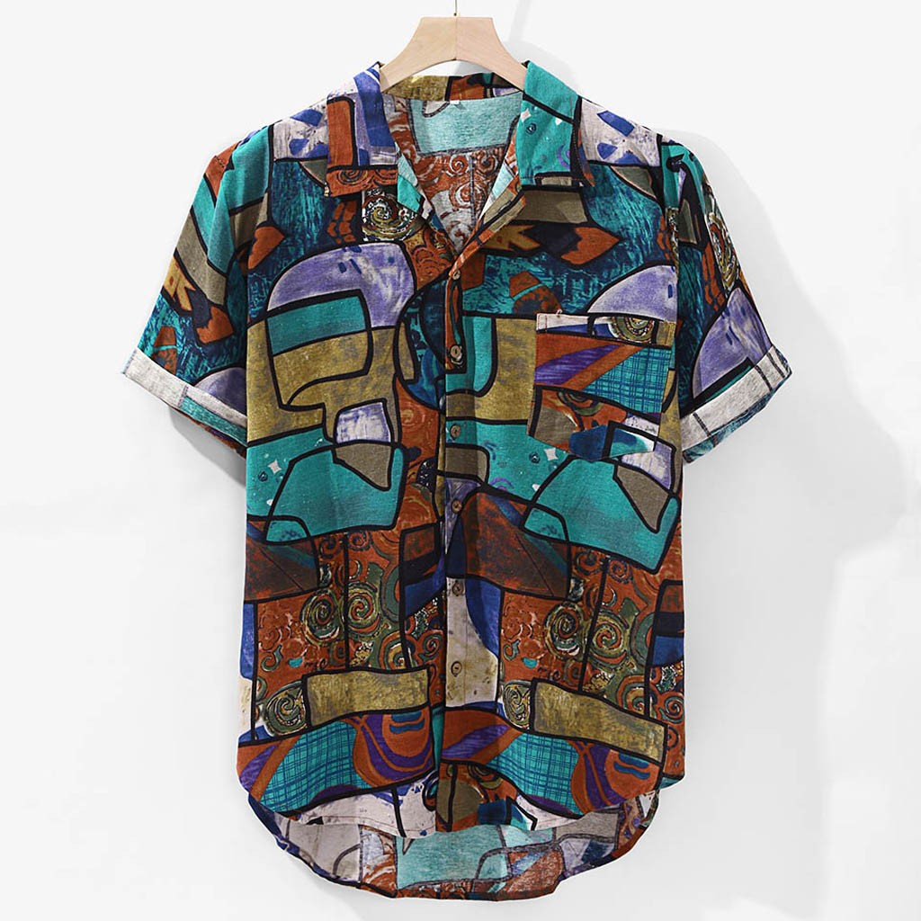 Mens Hawaiian Shirt Pocket Short Sleeve Round Loose Shirts Print Linen Blouse Vintage Plus Size Shirt Streetwear Summer Shirts