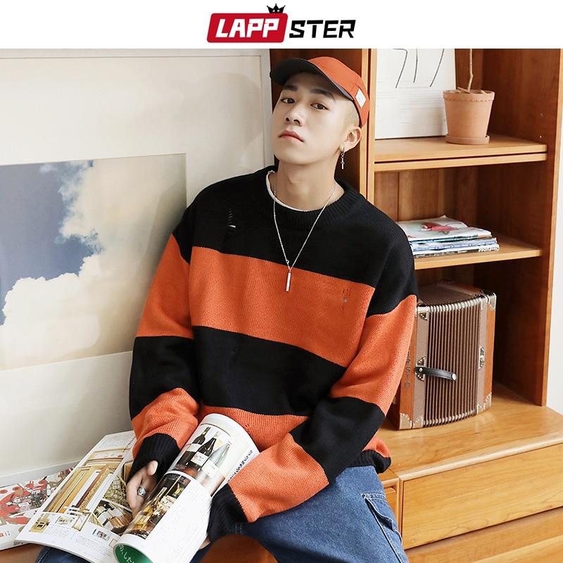 LAPPSTER Men Korean Striped Sweater 2019 Fall Mens Pullover Streetwear Hip Hop Hole Sweaters Couple Orange Oversized Sweaters