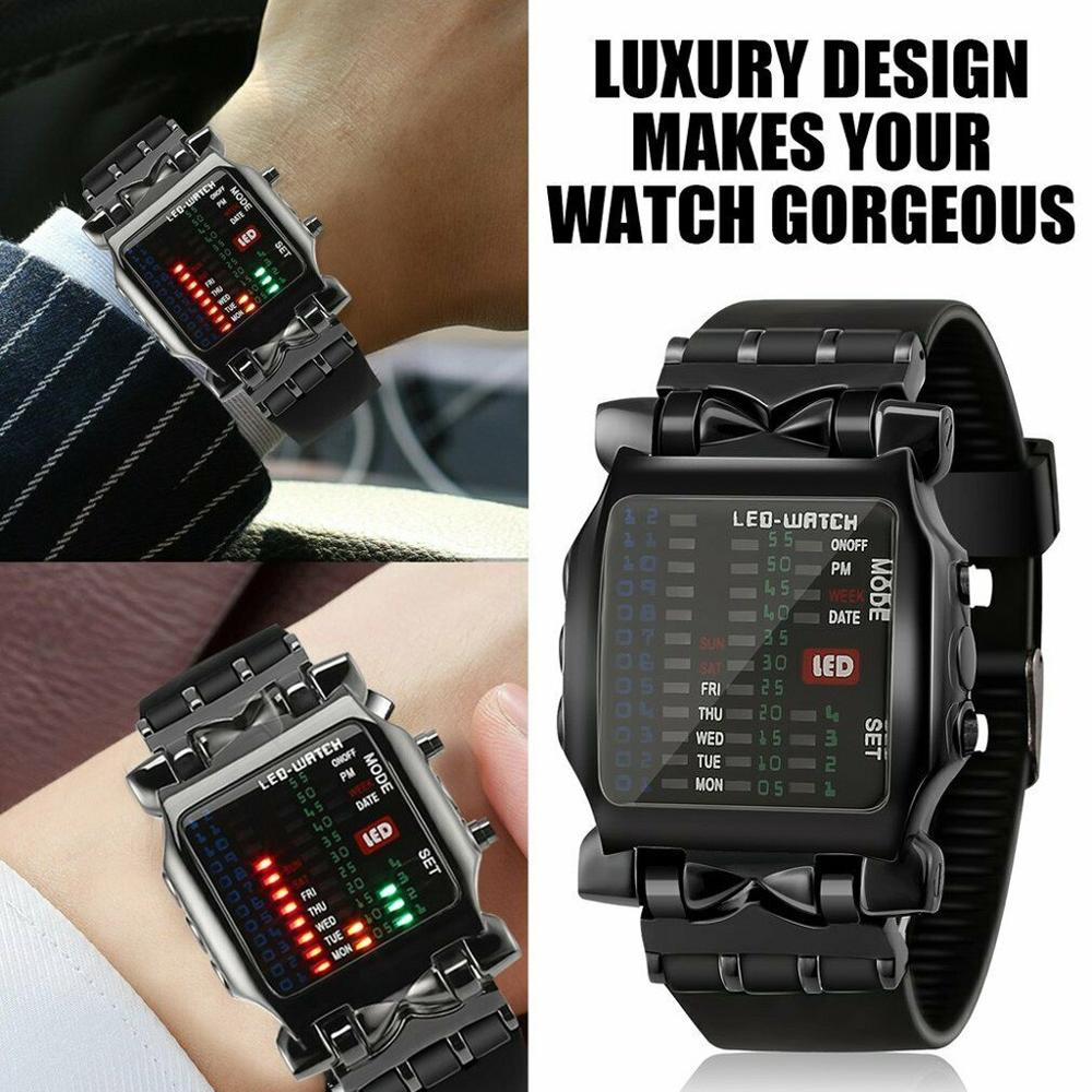 Black watch women zegarek damski bransoleta Luxury Men's Square Style Cool  Colorful LED Digital