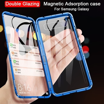 360 Full Cover Double Sided Glass Magnetic Case For Samsung Galaxy S20 10 S9 S8 Plus M31 For Note 8 9 10 A80 phone Cover