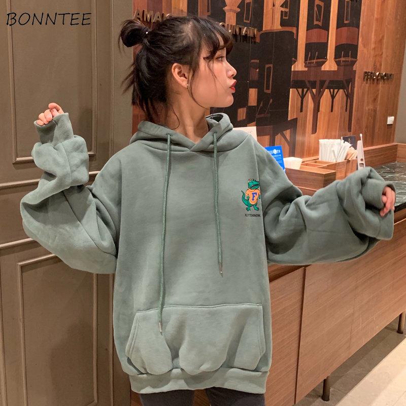 Bluzy z kapturem damskie harajuku, z nadrukiem koreański styl luźne rozrywka modny z kapturem gruba Student odzież damska cały mecz prosty elegancki