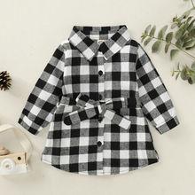 Рождественская одежда для маленьких девочек, рубашка в клетку с длинными рукавами, повседневная одежда, повседневная рубашка в клетку для девочек